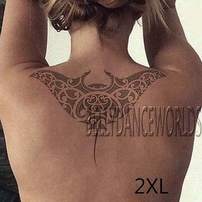 Tribal Maori Polynesian Manta Ray Devil Fish Temporary Tattoo Body Art Sticker