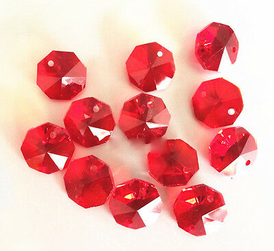 20PCS 14MM Red color Crystal Octagonal beads Decoration Crystal chandelier part