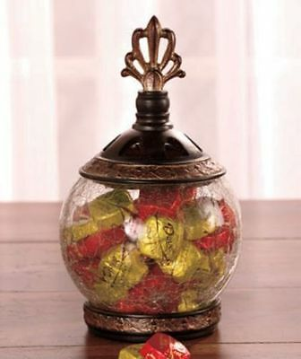 Elegant Glass Clear Jar Antique Style Footed Coldcast Ceramic Breathable Lid New