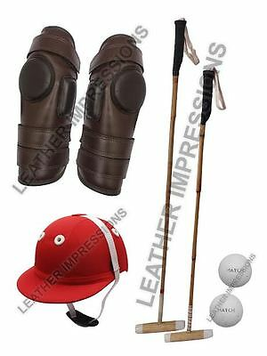 2 Polo Mallets,1 Polo Helmet,polo Riding Knee Guard & 2 Balls - Free P&p (Uk)