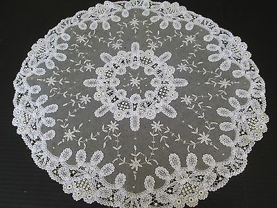 Antique French Princess Lace  Round Dresser Doily..antique White...22""