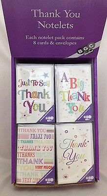 Pack Of 8 Thank You Notelets And Envelopes Greetings Cards Simon Elvin Thanks