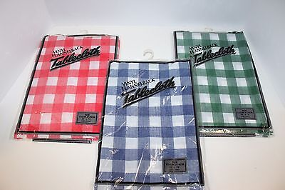 "(3) Vinyl Tablecloth Flannel Back Reusable Picnic Parks Green Red Blue 52""x70"""