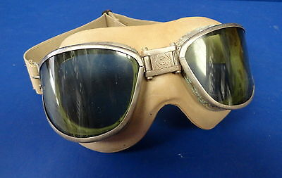 Rare Mkii Pilot Civil Flying Goggles W/original Face Cushion