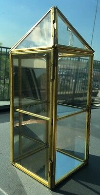 "Brass Glass Curio Miniatures Display Case Mirror Back 3-Tier Small 8"" x 3"" x 3"""
