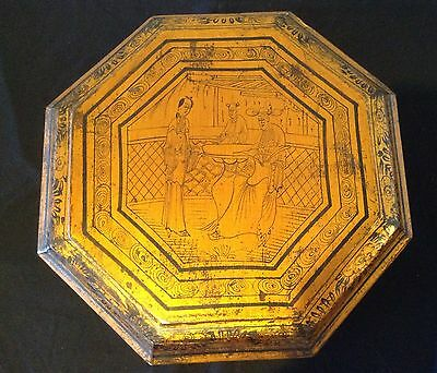 "Vintage Chinese Lacquer Lidded Sweetmeat Octagonal Box Gold Red Black  ""As Is"""