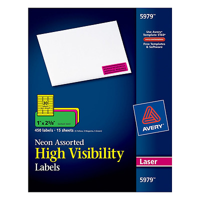 """Avery Neon Laser Labels, Rectangle, Assorted Fluorescent Colors, 1"""" x 2-5/8"""", 45"""