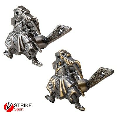 Pair of Bronze or Silver Blitz Metal Samurai Sword Wall Mounts Brackets Holders