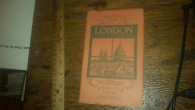 Bacon's New Large Print Map of London and Suburbs Softcover Old Map of London