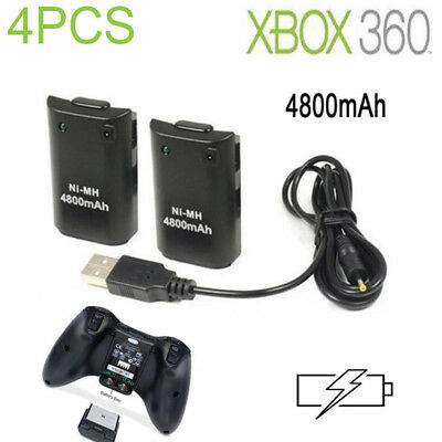 New 4x4800mAh Rechargeable Battery Pack for Xbox 360 Wireless Controller Black