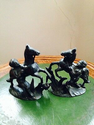 antique pair spelter horses