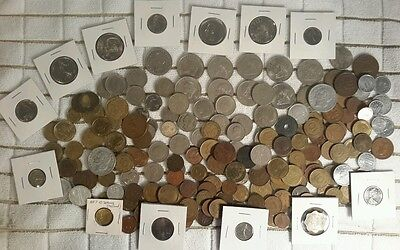 Lot of 200+ Foreign Coins from Different World Countries ~Some SILVER