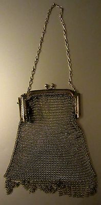 ANTIQUE VICTORIAN 1920s WHITING & DAVIS SOLDERED CHAIN MESH BAG PURSE