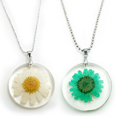 Daisy Floral Boho Necklace Pendant Real Pressed Flower Silver Girls Ladies