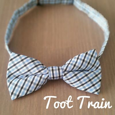 Children Kids Toddler Baby Check Plaid Bowtie Pre Tied Bow Tie Light Baby Blue