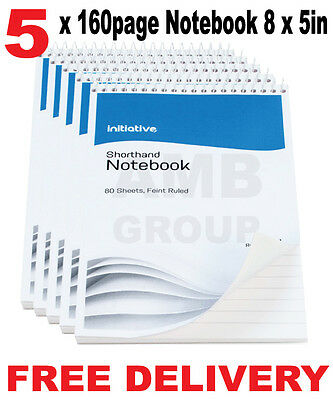 "5 x 160 Page Premium Notepad Notebook Shorthand Pad 8"" x 5"""