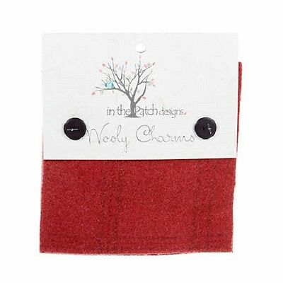 """Pomegranite Hand Dyed Wool - 5 ea 5""""x5"""" Wooly Charms WC4731"""
