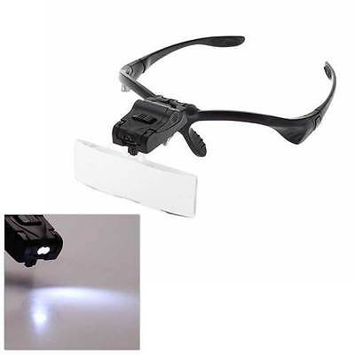 LED Head Light Magnifier Headband Headset Magnifying Glass Loupe 5 x Lens