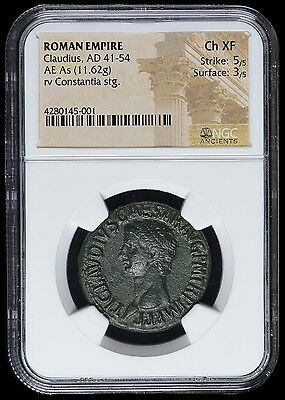 Roman Empire Claudius AD 41-54 AE As NGC Ch XF 5/5 3/5 Twelve Caesar's