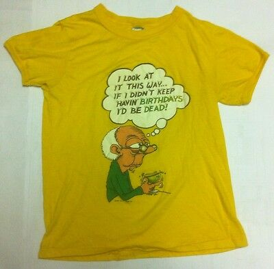 Vintage THIN 1983 Funny Birthday 80's Graphic T SHIRT Yellow Better T-Shirt Co