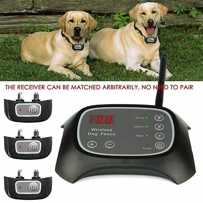 Wireless Dog Fence Pet Containment System Rechargeable Waterproof 1/2/3 Dogs KY