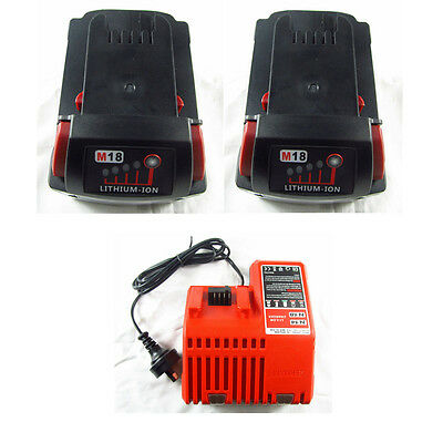 2xBattery+Charger 4.0Ah 18V Red Lithium Ion XC 4.0 For Milwaukee M18 48-11-1828