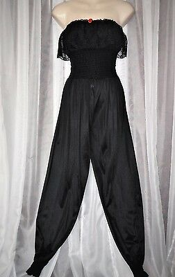"M.Vtg.1970's ""Undercover Wear"" Black sheer lace,vintage genie pants,PJs,Nightie"