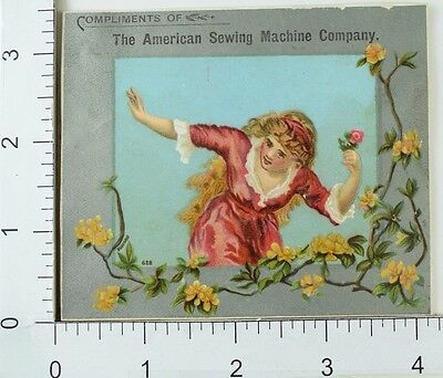The American Sewing Machine Co Lovely Lady Long Hair Yellow Flowers F64