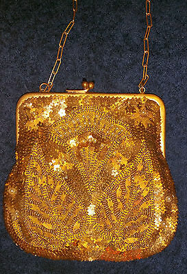 Antique Micro Beaded Steel Cut Evening/Change Purse Made in France