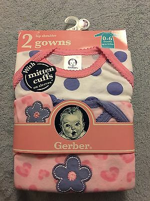 Gerber 2 pack gowns infant girl 0-6 months