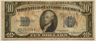 NICE 1934A TEN Dollar $10 Silver Certificate Blue Seal Note !! 1934 A Wow !!!!!