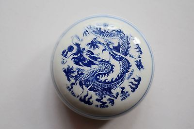 Chinese Blue White Porcelain Capacity 30g Inkpad Box Dragon Pattern 6.2x2.7cm