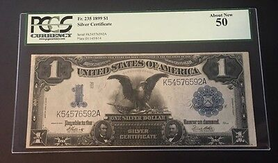 "1899 $1 ""Black Eagle"" Silver Certificate PMG50 About Uncirculated"