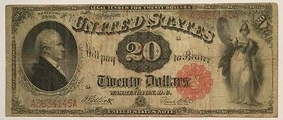 RARE OLD 1880 $20 United States Legal Tender Note Red Seal , WOW NICE TWENTY !!!