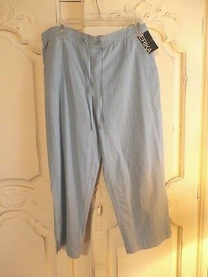 Nwt Erika Womens Linen Blend Pull-On Cropped Pant *size Small & Sky Blue* $26.00