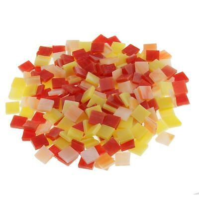250x Square Glass Mosaic Tiles Pieces for DIY Crafts Material Red+Yellow