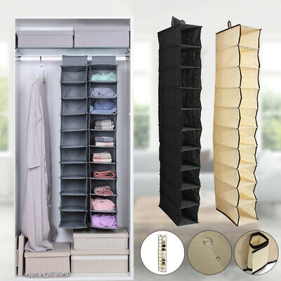 10 Section Clothes Hanging Organiser Storage Wardrobe Closet Shoes Hanger Bag AU