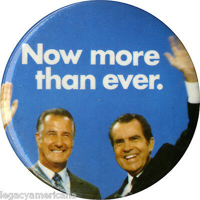Official 1972 Nixon Agnew NOW MORE THAN EVER Jugate Campaign Button (1033)