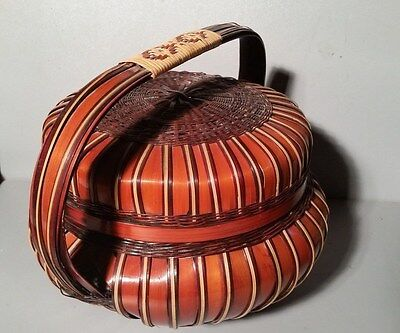 Vintage Oriental Lidded  Basket With Handle 12X14""