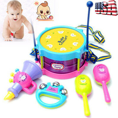 Baby Kids Roll Drum Musical Instruments Child Educational Rattles Toy Gift
