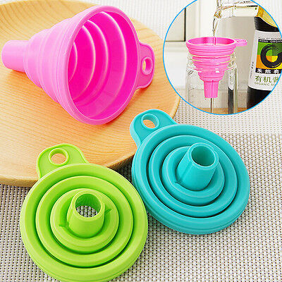 Collapsible Silicone Funnel Hopper Fold Heat Resistant Oil Water Liquid Kitchen