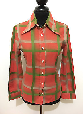 CULT VINTAGE '70 Camicia Donna Jersey Cotton Scotland Woman Shirt Sz.XS - 38