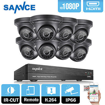 SANNCE 8CH AHD DVR Video 1080P 2.0MP 5IN1 CCTV Security Camera System IR Cut UK
