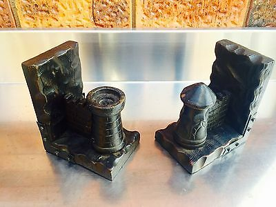 Vintage Timber Wooden Metal Medieval Style Book Ends