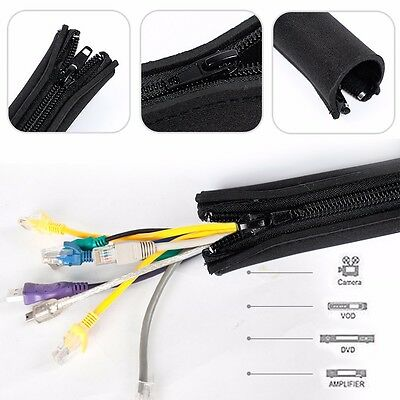 5M Cable Management Organizer Neoprene Cable Cord Wire Cover Hider Sleeves PC TV