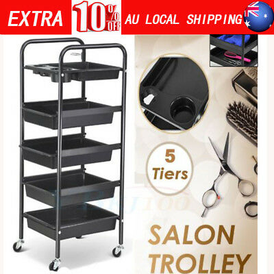 5 Tiers Hairdresser Salon Spa Hair Trolley Rolling Storage Cart Black AU Seller