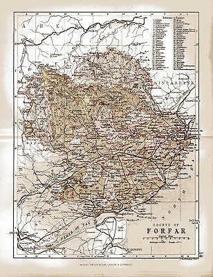 Map of County of Forfar, Scotland. County Forfar is now County Angus.