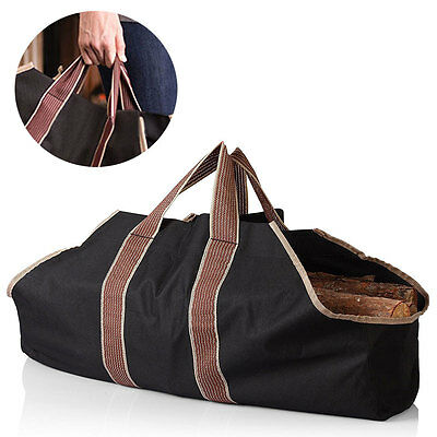 HOT Canvas Firewood Log Tote Bag Firewood Storage Package Carriers for Fireplace