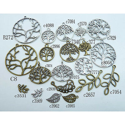 Lot of Classic Branches Leaf Pendants Antique Bronze Silver Pendants Finding NEW