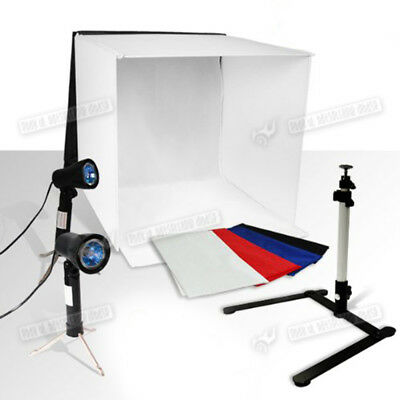 Photo Studio Cube Tent Continuous Lighting Kit Softbox box Tripod 4 Backdrops